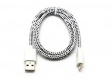 2M Length Woven Connector to USB Power & Data Cable for Apple iPhone 5--White