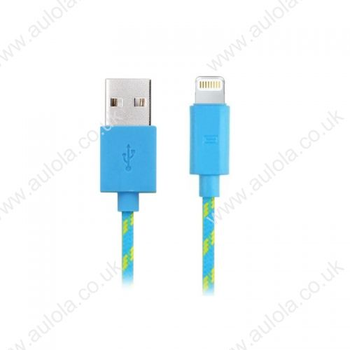 1M Length Weave Connector to USB Power & Data Cable for Apple iPhone 5- Light Blue SKU: MBL-12790