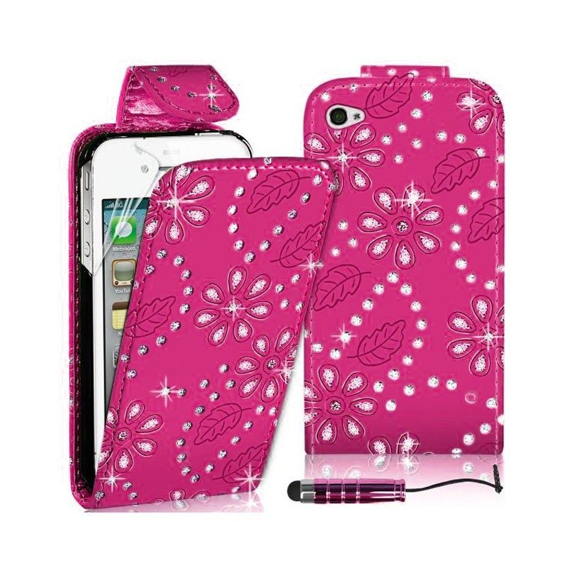 DIAMOND LEATHER FLIP CASE COVER FITS APPLE IPHONE 4/4s -Rose red SKU: MKC-9248