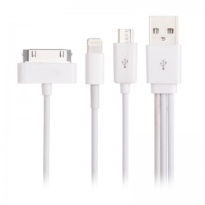 Apple 8-pin/30-pin and mirco USB Data Cable - 3 in 1