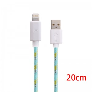 Wholesale 20cm Fluorescent Braid Data Charging Cable for iPhone 5/5S/6