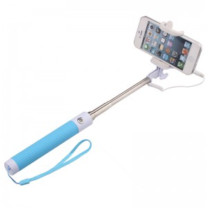 Handheld Wired Cable Selfie Stick Monopod Extendable Pole -Blue