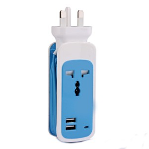 Wholesale 3-in-1 USB Charger UK Power Strip Safety Outlet