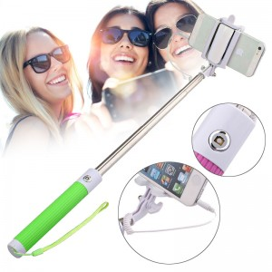 Wholesale Handheld Wired Remote Selfie Stick Monopod Extendable Pole Holder -Green