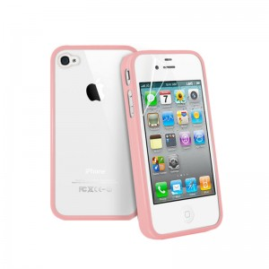 TPU+PC Case Cover For iPhone 4&4GS - Light Pink
