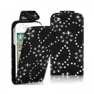 Up and Down Open with Card Slot and Diamond Case Cover for iPhone 5