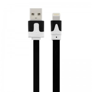 Wholesale 1M Flat Noodle 8 Pin Lightning to USB Data Charger Cable