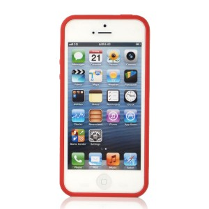 Wholesale For Apple iPhone 5 Slim case with PC Frame & TPU Cover -Red