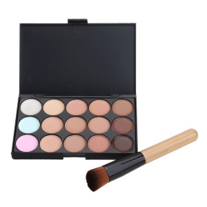Wholesale 15 Colors Party/Salon Contour Face Cream Makeup Concealer With Powder Brush