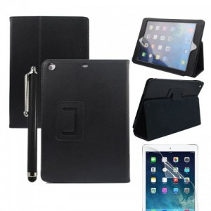 Wholesale Black Two Fold Stand Case Cover for iPad 5(Air) + Protective film + Stylus