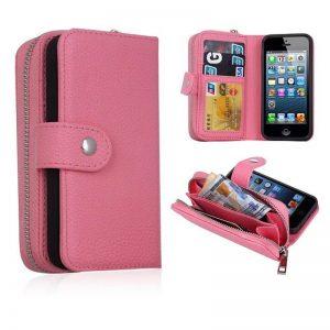 Wholesale Detachable Litchi Zipper PU Leather Wallet Card Case Cover for Apple iPhone 5S