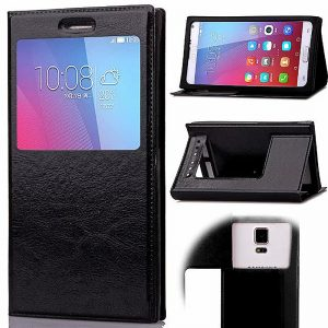 Wholesale 4.0-4.5 Inch Universal Silicone Smart Touch View Window Flip Stand Phone Case Cover - Black